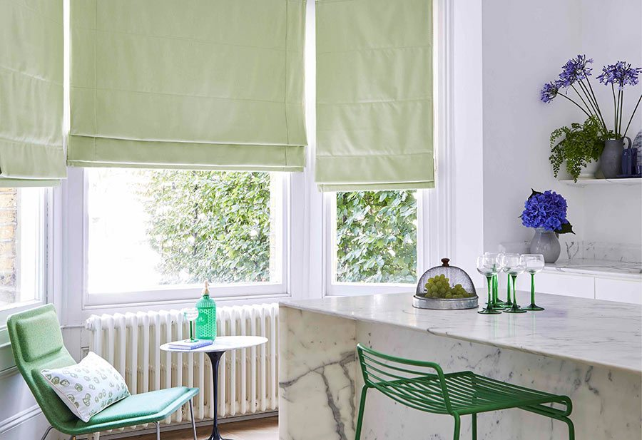 How to dress your kitchen windows property price advice radiance zest roman blinds from the charlotte beevor collection for hillarys priced from 178 including measuring and fitting w65cm x d75cm solutioingenieria Images