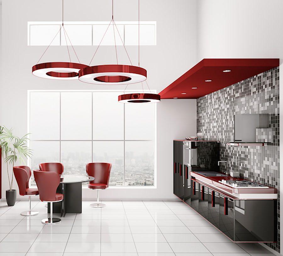 Red Flooring Kitchen: Inspiring Kitchen Tile Ideas